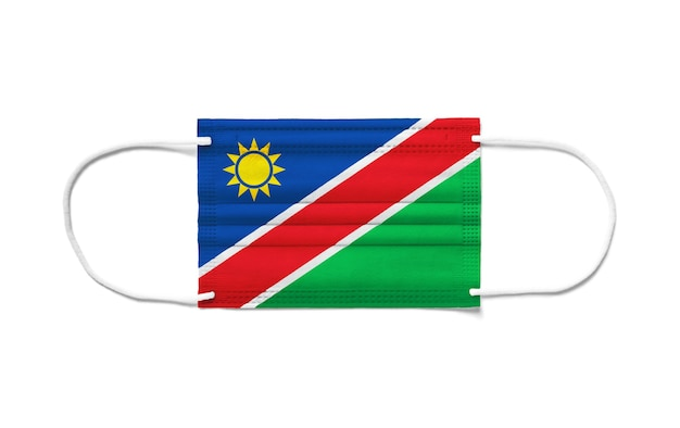 Flaga namibii na jednorazowej masce chirurgicznej.