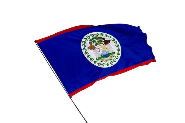 Flaga narodowa belize na białym tle