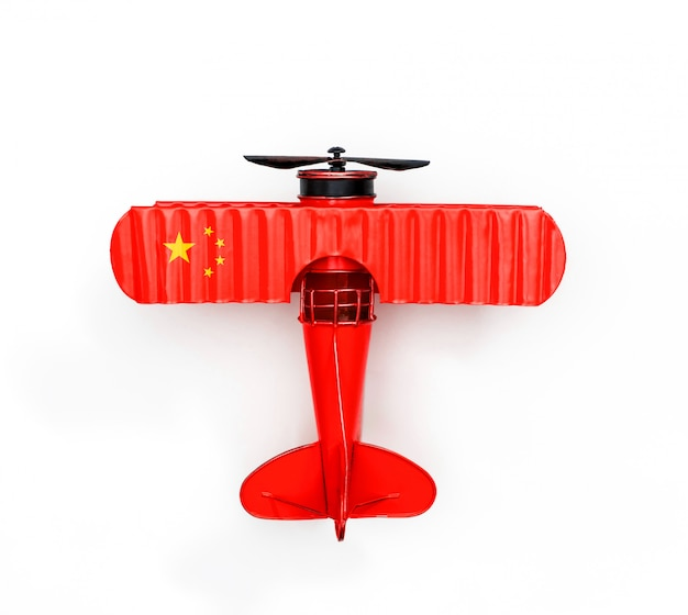 Flaga narodowa chin metalowy samolot zabawka na białym tle