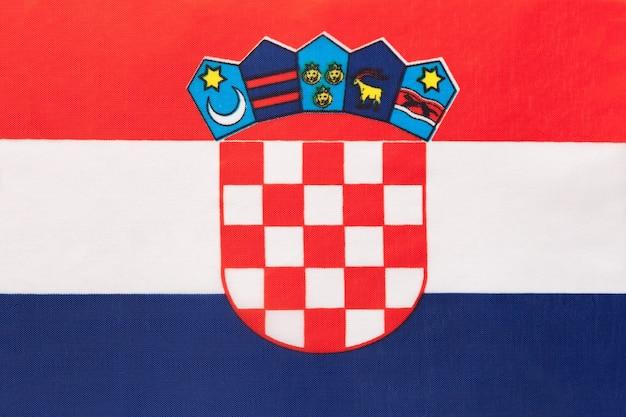 Flaga narodowa chorwacji tkaniny, tło włókienniczych symbol międzynarodowego świata kraju europejskiego