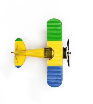Flaga narodowa gabonu podróży metal zabawka samolot na białym tle