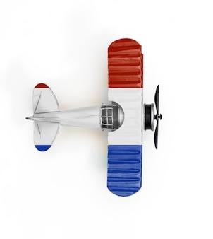 Flaga narodowa holandii metal zabawka samolot na białym tle