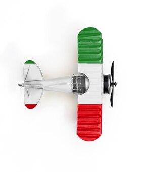 Flaga narodowa iranu podróży metal zabawka samolot na białym tle