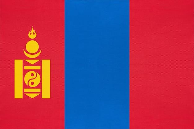 Flaga narodowa mongolii tkanina tło włókiennicze, symbol świata azjatyckiego kraju,