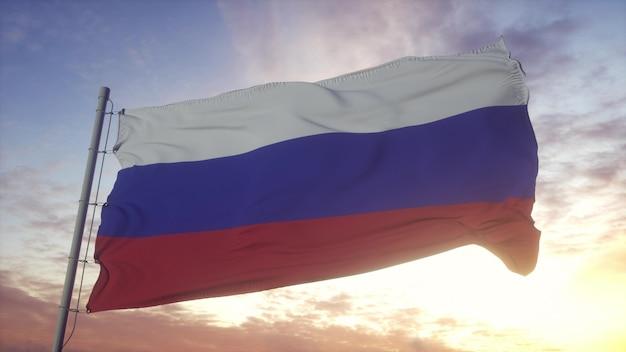 Flaga narodowa rosji macha na wietrze przed pięknym niebem. rosyjska flaga na tle nieba. renderowanie 3d