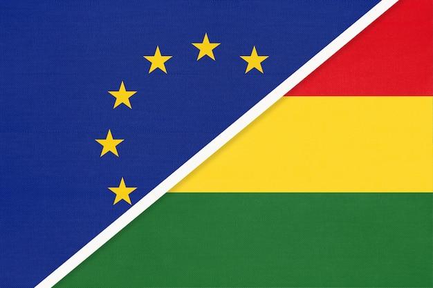 Flaga narodowa unia europejska lub ue vs wielonarodowe państwo boliwia