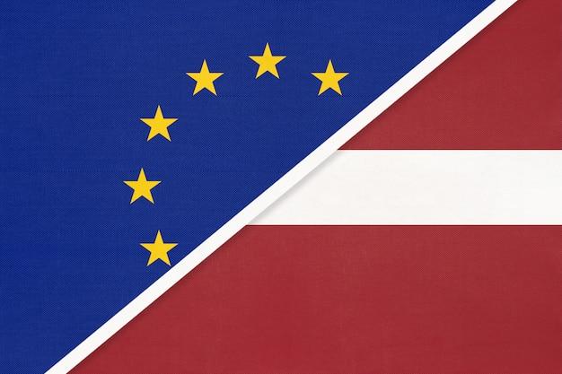 Flaga narodowa unii europejskiej lub ue a łotwa