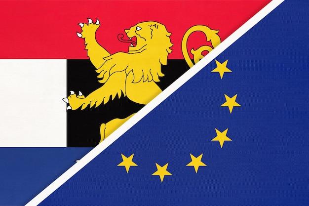 Flaga narodowa unii europejskiej lub ue i unii beneluksu, holandia