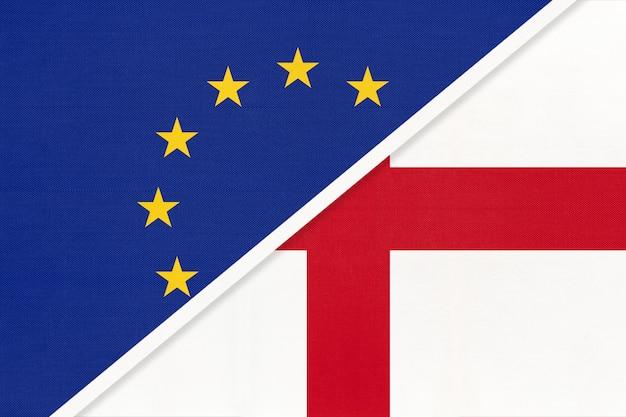 Flaga narodowa unii europejskiej lub ue kontra anglia