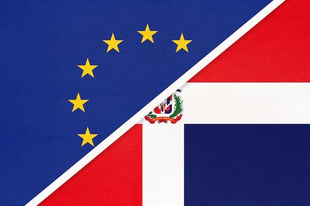 Flaga narodowa unii europejskiej lub ue vs dominikana