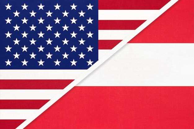 Flaga narodowa usa vs austria z tekstyliów. relacje między krajami amerykańskimi i europejskimi.