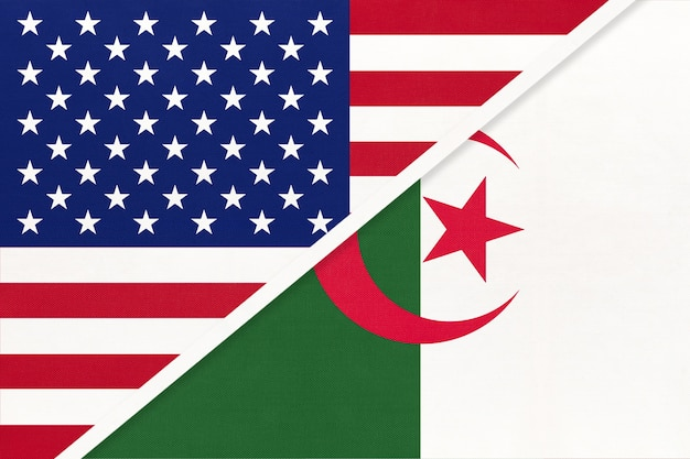 Flaga narodowa usa vs republiki algierii z tekstyliów.