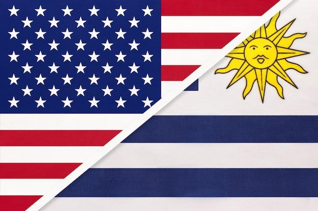 Flaga narodowa usa vs urugwaju. relacje między dwoma krajami.