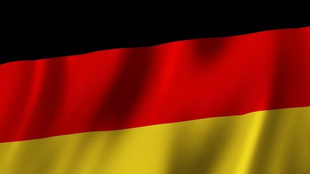 Flaga niemiec macha zbliżenie renderowanie 3d z wysokiej jakości obrazem z teksturą tkaniny