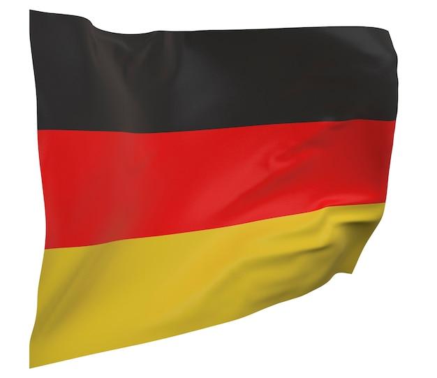 Flaga niemiec na białym tle. macha sztandarem. flaga narodowa niemiec