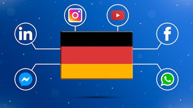 Flaga niemiec z logo mediów społecznościowych 3d