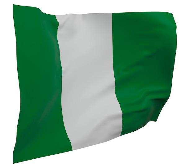 Flaga nigerii na białym tle. macha sztandarem. flaga narodowa nigerii