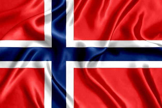 Flaga norwegii jedwabiu z bliska
