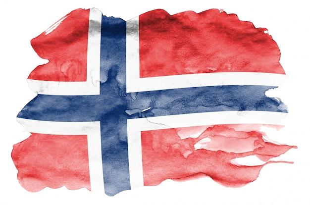 Flaga norwegii jest przedstawiona w płynnym stylu akwareli na białym tle