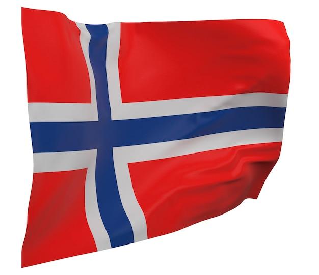 Flaga norwegii na białym tle. macha sztandarem. flaga narodowa norwegii