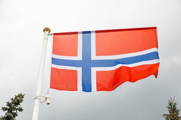Flaga norwegii na flagstuff przed niebem