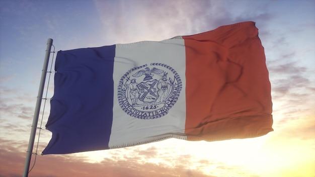 Flaga nowego jorku macha na tle wiatru, nieba i słońca. renderowanie 3d