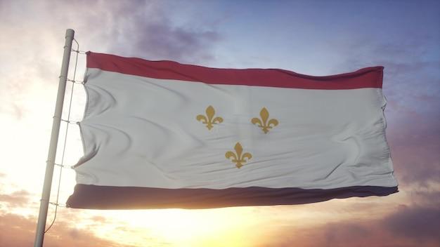 Flaga nowego orleanu, miasta stanów zjednoczonych macha na tle wiatru, nieba i słońca. renderowanie 3d