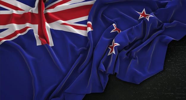 Flaga nowej zelandii pomarszczony na ciemnym tle renderowania 3d
