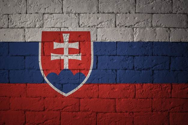 Flaga o oryginalnych proporcjach. zbliżenie grunge flaga słowacji