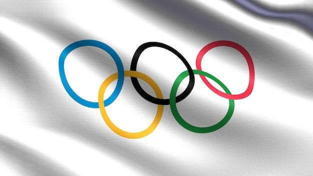 Flaga olimpijska z falującą fakturą tkaniny