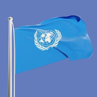 Flaga organizacji narodów zjednoczonych na maszcie machającym na wietrze na białym tle na tle błękitnego nieba
