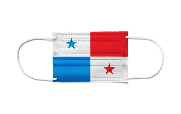 Flaga panamy na jednorazowej masce chirurgicznej.