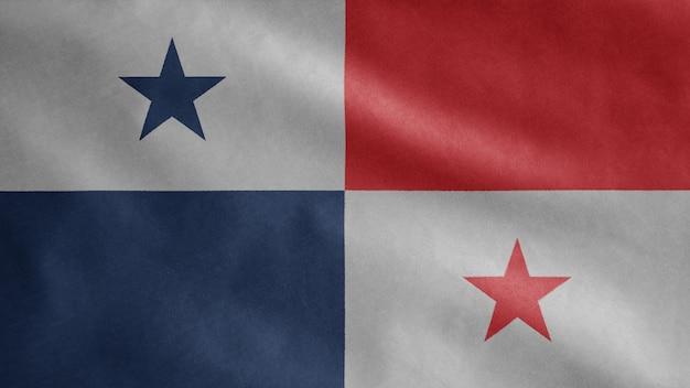 Flaga panamy na wietrze. zamknij się dmuchanie szablonu panamy, miękkiego i gładkiego jedwabiu.