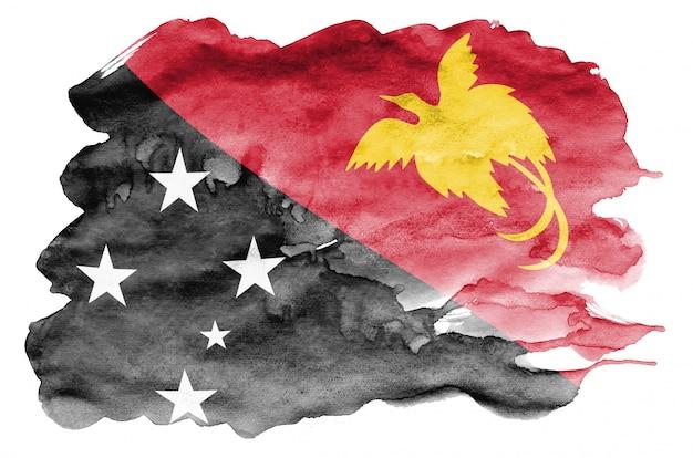 Flaga papui-nowej gwinei jest przedstawiona w płynnym stylu akwareli na białym tle