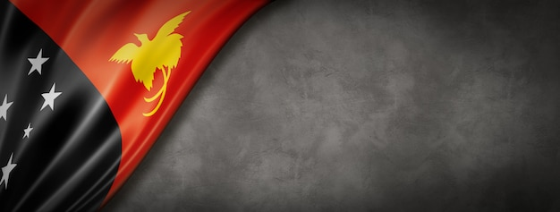 Flaga papui-nowej gwinei na betonowej ścianie. pozioma panorama. ilustracja 3d