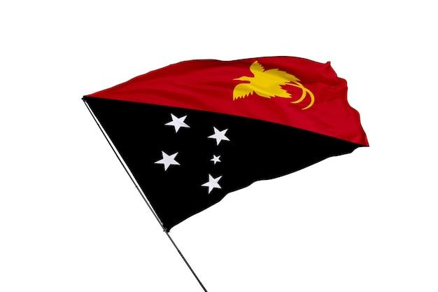 Flaga papui nowej gwinei na białym tle