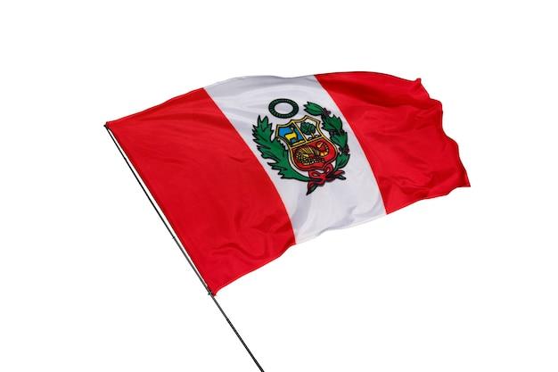 Flaga peru na białym tle