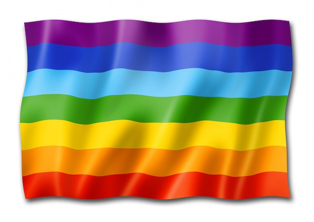 Flaga pokoju tęczy na białym tle