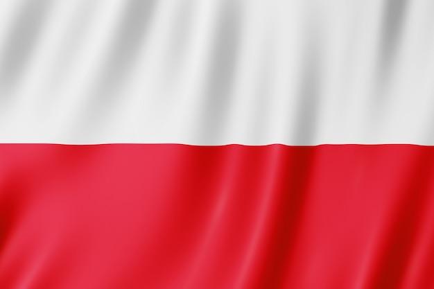 Flaga polski. ilustracja macha flagą polską.