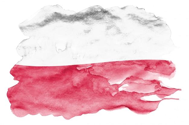 Flaga polski jest przedstawiona w płynnym stylu akwareli na białym tle