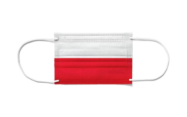 Flaga polski na jednorazowej masce chirurgicznej