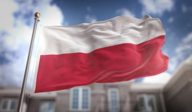 Flaga polski renderingu 3d na tle błękitne niebo budowanie