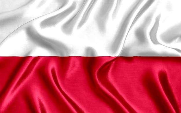 Flaga polski z bliska jedwabiu