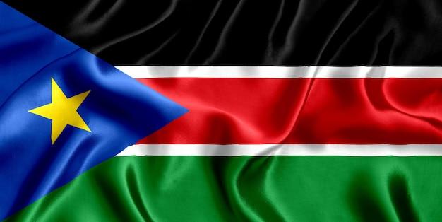 Flaga południowego sudanu z bliska jedwabiu