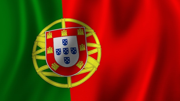 Flaga portugalii macha zbliżenie renderowanie 3d z wysokiej jakości obrazem z teksturą tkaniny