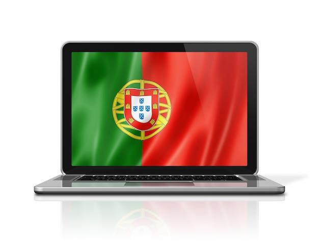 Flaga portugalii na ekranie laptopa na białym tle. renderowanie 3d ilustracji.