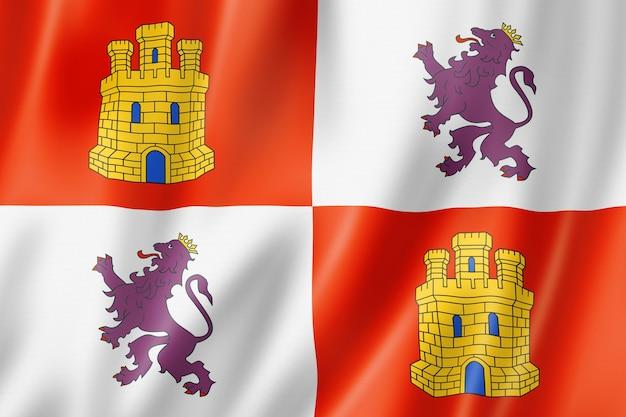 Flaga prowincji kastylia i leon, hiszpania macha kolekcja transparent. ilustracja 3d