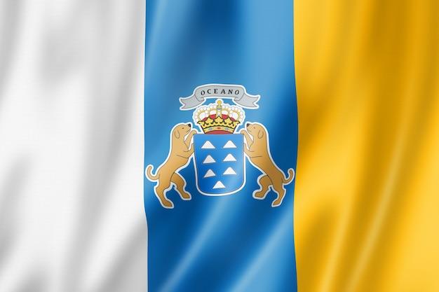 Flaga prowincji wyspy kanaryjskie, hiszpania macha kolekcja transparent. ilustracja 3d