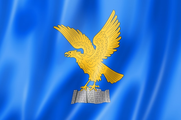 Flaga regionu friuli venezia giulia, włochy macha kolekcja transparentu. ilustracja 3d