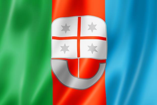 Flaga regionu liguria, włochy macha kolekcja transparentu. ilustracja 3d